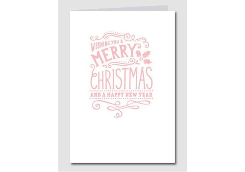 Papette Papette Kerstkaart 'Merry Christmas - Happy New Year' Roze