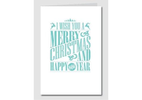 Papette Papette Kerstkaart 'Merry Christmas - Happy New Year' Munt