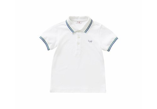 Il Gufo Il Gufo Polo Shirt Wit - Blauw / Groen Strepen