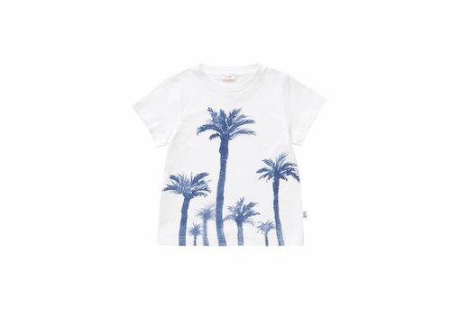 Il Gufo Il Gufo T-Shirt Wit - Blauw Palmbomen