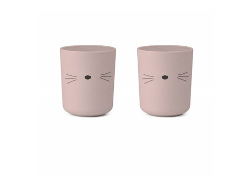 Liewood Liewood Drink Cup Bamboo Cat Rose 2 Pack