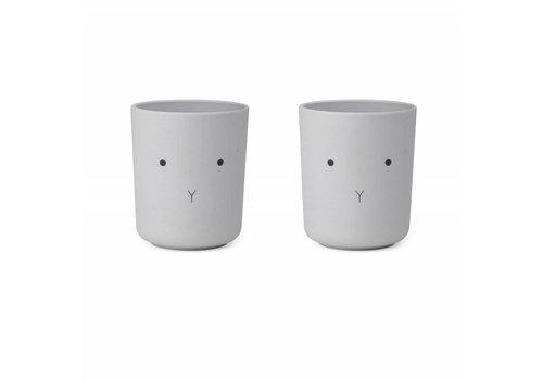 Liewood Liewood Drink Cup Bamboo Rabbit Dumbo Grey 2 Pack