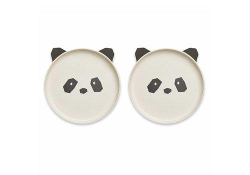 Liewood Liewood Plate Bamboo Panda Creme De La Creme 2 Pack