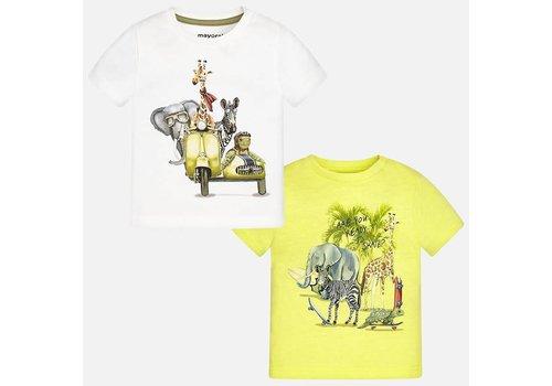 Mayoral Mayoral T-Shirt Set Jungle Wit - Geel