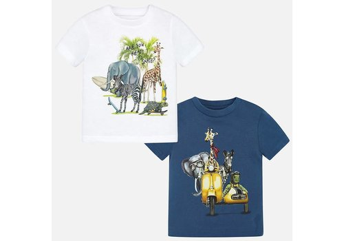 Mayoral Mayoral T-Shirt Set Jungle Wit - Blauw