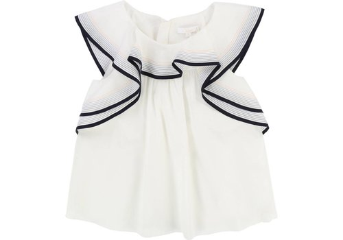 Chloe Chloe Blouse Off-white Stripes Collar