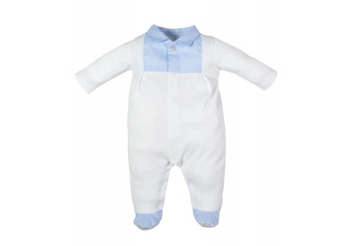 Laranjinha Laranjinha Pyjamas With Feet White - Classic Blue