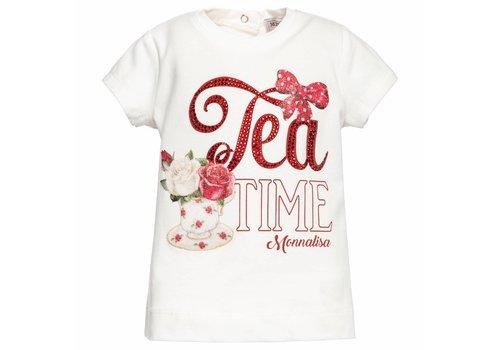 Monnalisa Monnalisa T-Shirt White - Red Tea Time