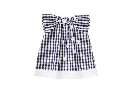 Il Gufo Il Gufo Dress Dark Blue - White