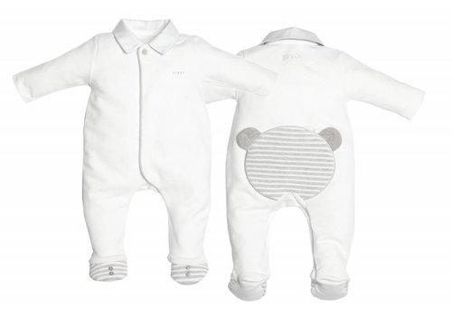 First First Pyjama Wit Beertje Op Rug Grijs