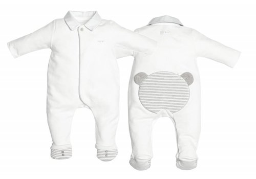 First First Pyjamas White Teddy On The Back Grey
