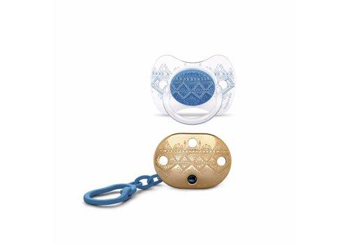 Suavinex Suavinex Couture Fopspeen + Clip Silicone - Phys. - 4/18M - Dark Blue