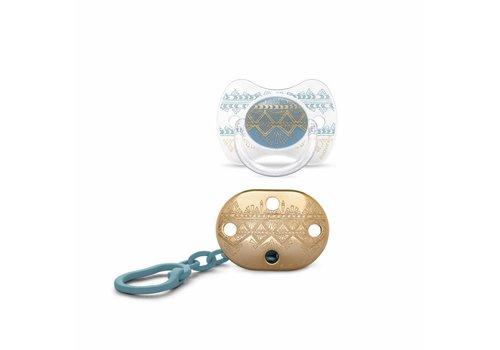 Suavinex Suavinex Couture Fopspeen + Clip Silicone - Phys. - 4/18M - Light Blue