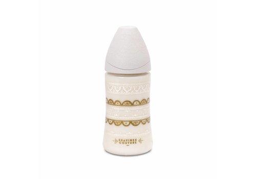 Suavinex Suavinex Couture Feeding Bottle Silicone - 3pos - 270ml- Grey