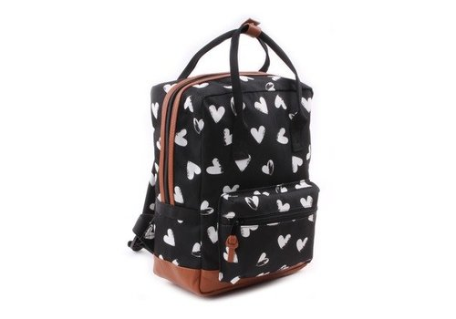 Kidzroom Kidzroom Backpack Black - White Hearts 30 x 23 x 13