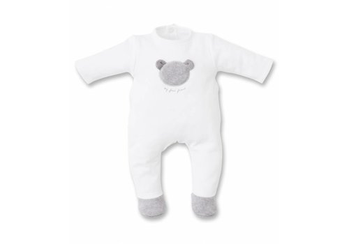 First First Pyjamas With Teddy On Chest White - Grey