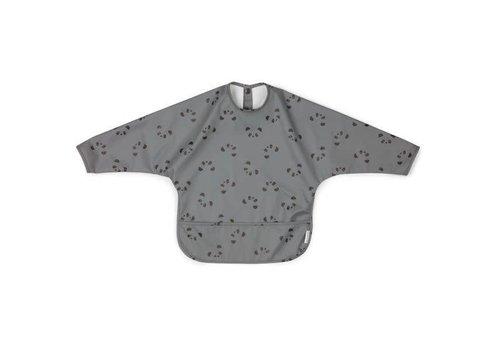 Liewood Liewood Bib With Sleeves Panda Stone Grey