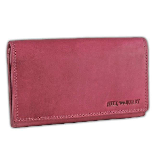 HillBurry VL77709 Leren Dames Portemonnee Overslag Model Licht roze