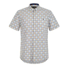 Merc Caspian Retro Geo Print Overhemd, Regular fit