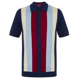 Merc Upton Vertical Stripe Knitted Polo