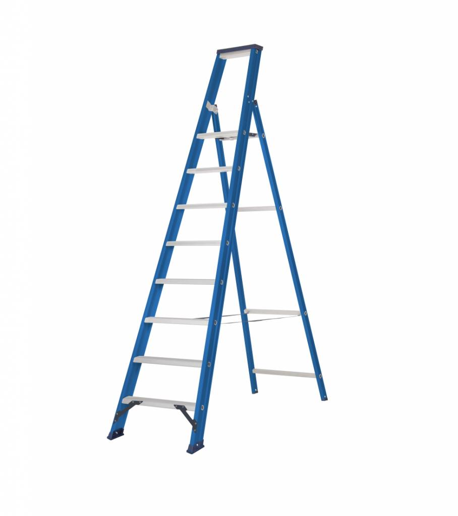 das hercules blue stufen stehleiter 1 x 8 stufen ladder steiger. Black Bedroom Furniture Sets. Home Design Ideas