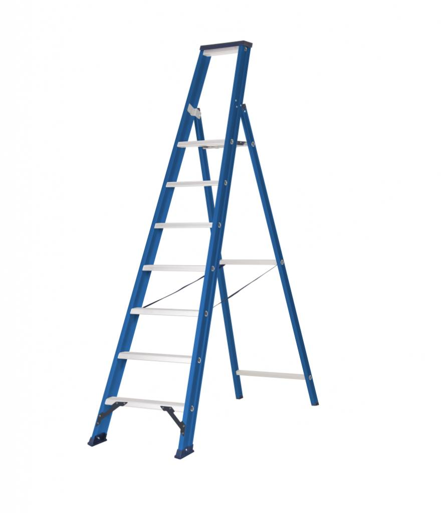 das hercules blue escabeau 1 x 7 marches ladder steiger. Black Bedroom Furniture Sets. Home Design Ideas