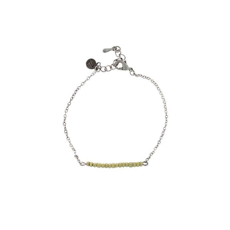Zusss fijne armband oud zilver met kerrie kraaltjes