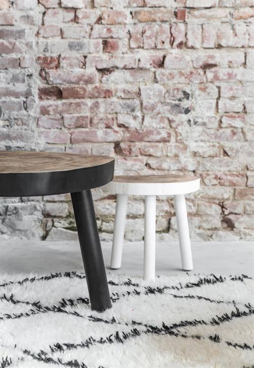 HKliving Boom tafel wit klein, Ø 33cm