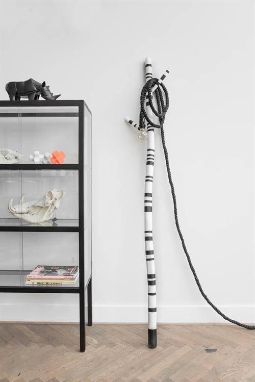 HKliving Touw lamp zwart, 450cm