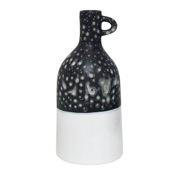 HKliving keramieken vaas met handvat, zwart wit