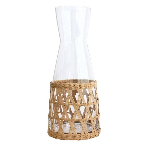 HKliving Glazen kan met gevlochten handvat