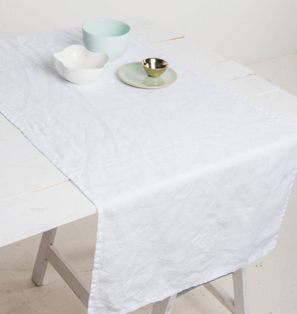 UNC URBAN NATURE CULTURE AMSTERDAM Table Runner White, 100% pure linen