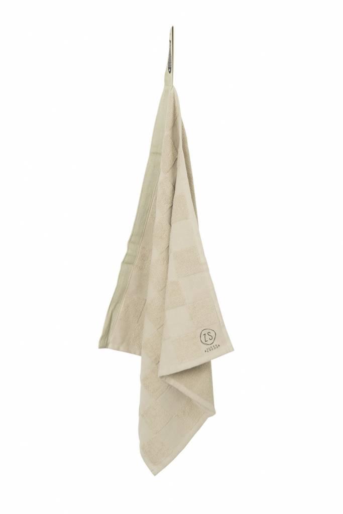Zusss Handdoek geblokt krijt