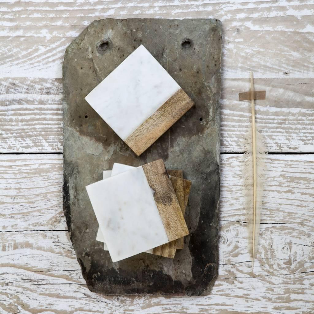 onderzetters marmer/hout, wit 4st