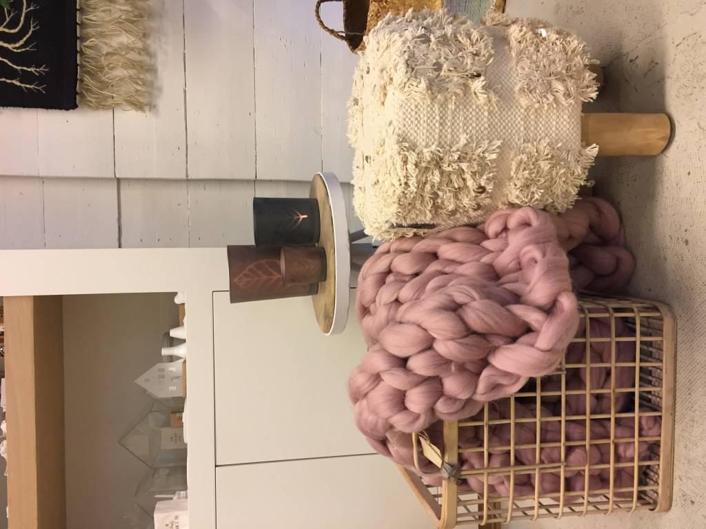 Lontwol voor armbreien XXL, geverfd oud rose 1 kg