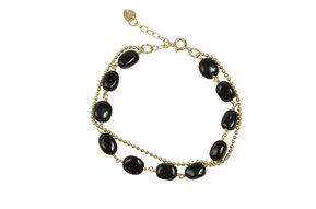 Glow zwarte onyx - Armband goud