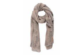 sjaal met bladprint poederroze
