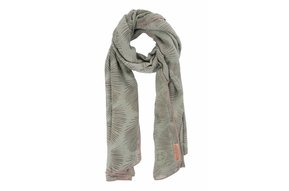 sjaal met bladprint zeegroen