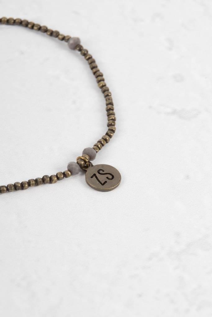 Zusss Enkelbandje brons met grijze kraaltjes