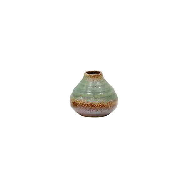 HKliving Handgemaakte kleine groene vaas van keramiek