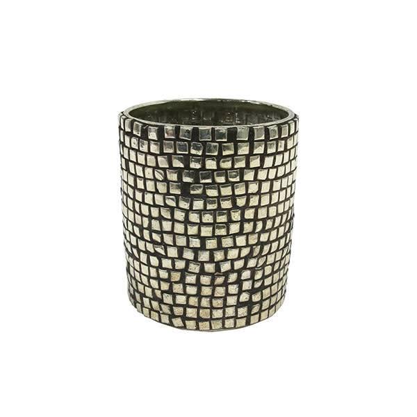 HKliving waxinelichthouder zilverkleurig met zilveren studs