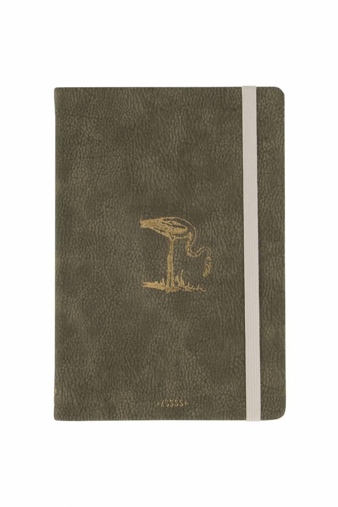 Zusss Notitieboek Flamingo/sjiek-de-friemel donkergroen