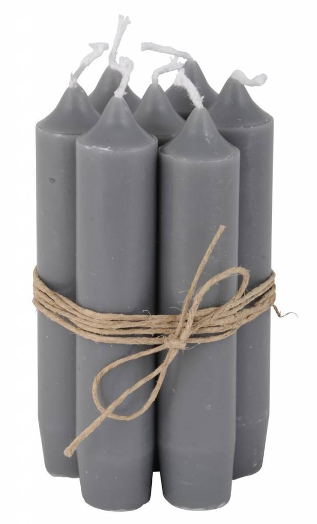 Ib Laursen set 7 korte dinerkaarsen / short dinner candles dark grey