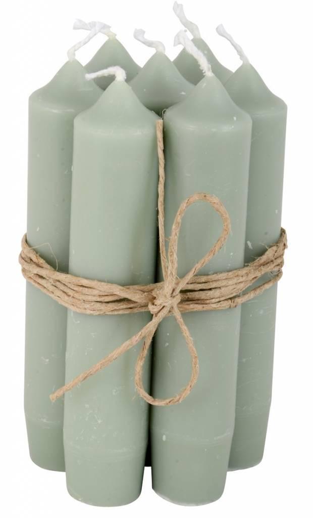 Ib Laursen set 7 korte dinerkaarsen / short dinner candles dusty green
