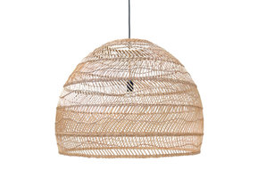 Handgevlochten rieten hanglamp 80 cm