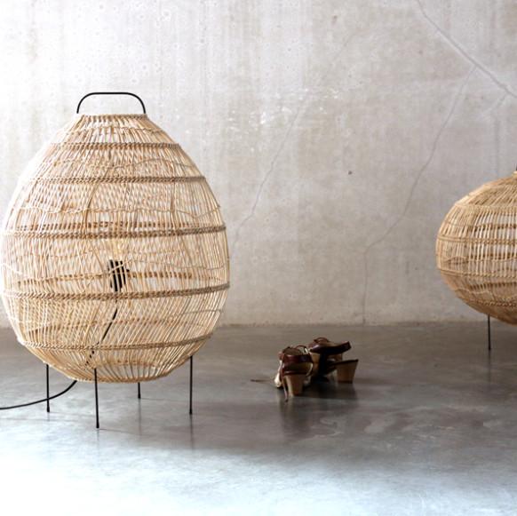 HKliving Vloerlamp van riet in ovale vorm