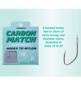Drennan Drennan Carbon Match Micro Barbed Hooks to Nylon
