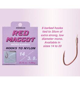 Drennan Drennan Red Maggot Micro Barbed Hooks to Nylon