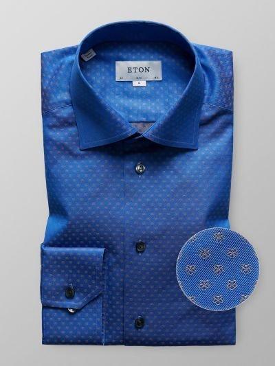 Eton Navy Woven Floral shirt
