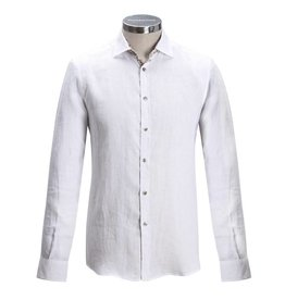 Florentino Long sleeved Linen shirt with flower detail